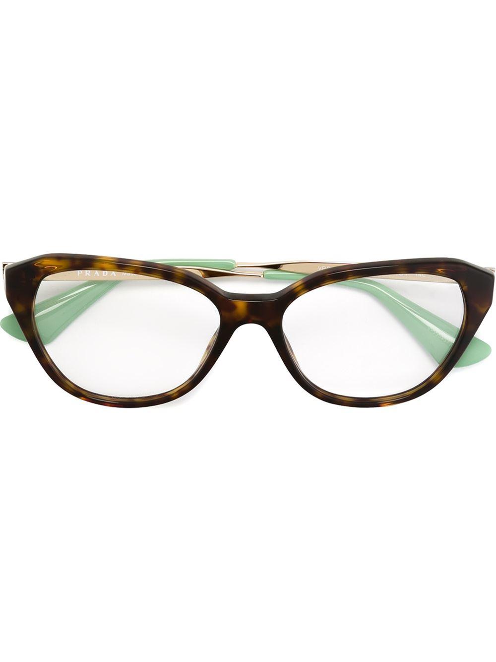 Prada Eyeglass Frames Cateye : Prada Cat Eye Glasses in Brown Lyst