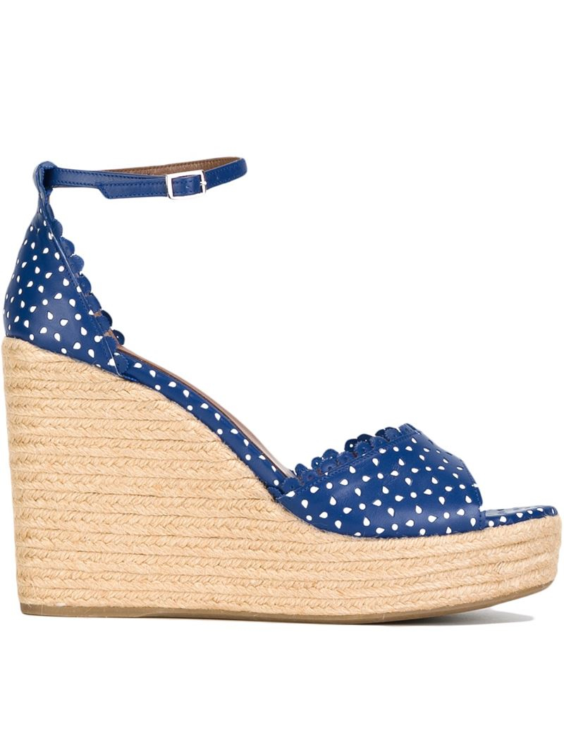 simmons harp wedge sandals in white blue lyst