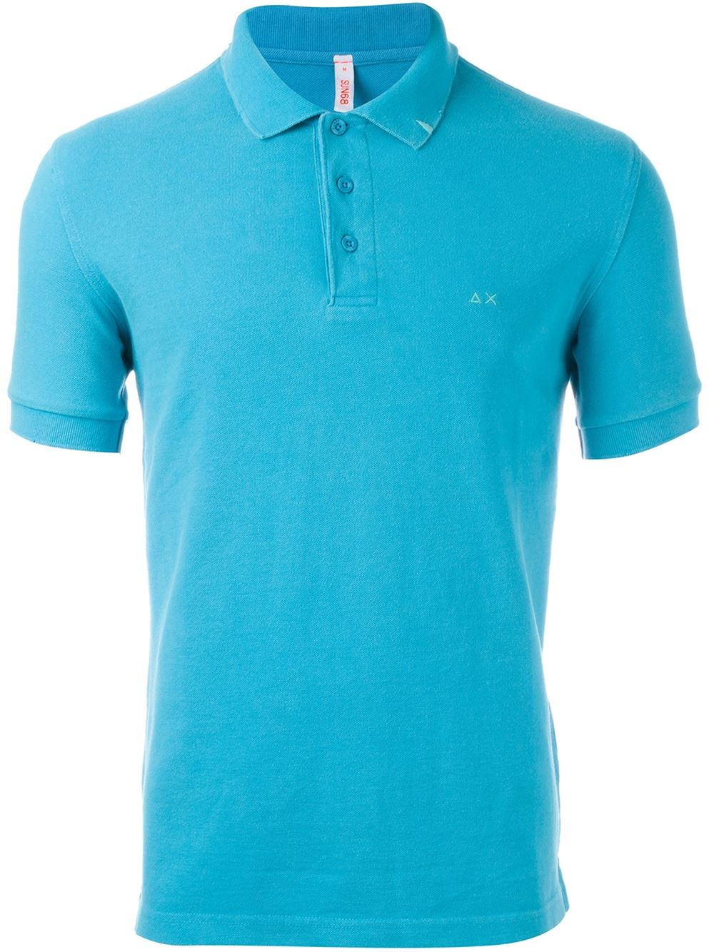 Lyst sun 68 embroidered logo polo shirt in blue for men for Polo shirts with logos