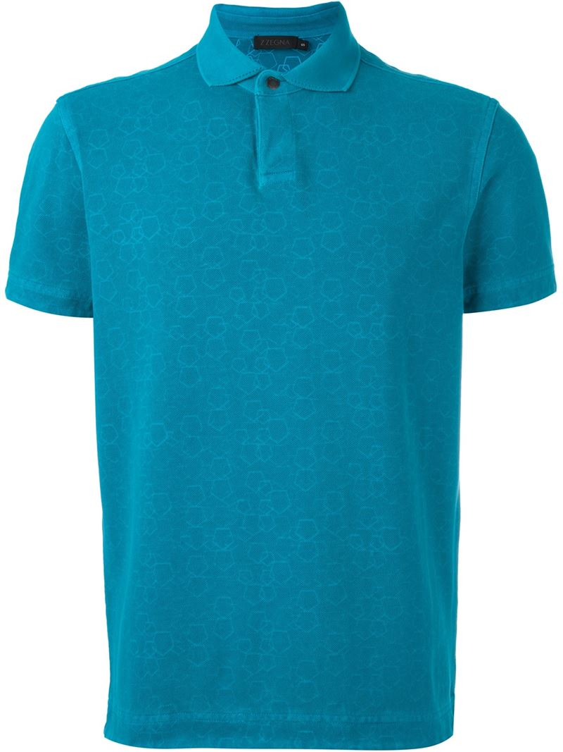 Z zegna classic polo shirt in blue for men save 30 lyst for Zegna polo shirts sale