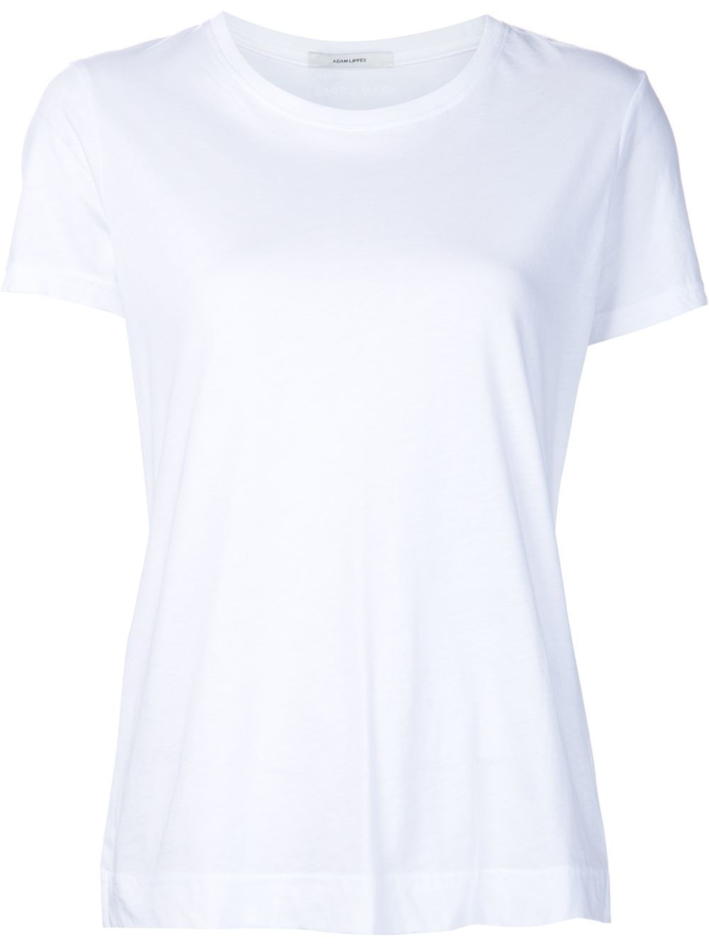 Adam lippes round neck t shirt in white lyst for Adam lippes t shirt