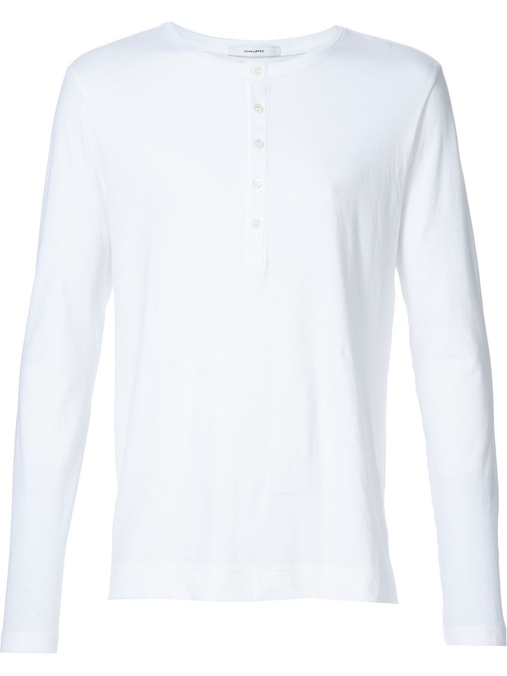 Adam lippes long sleeve henley t shirt in white for men lyst for Adam lippes t shirt