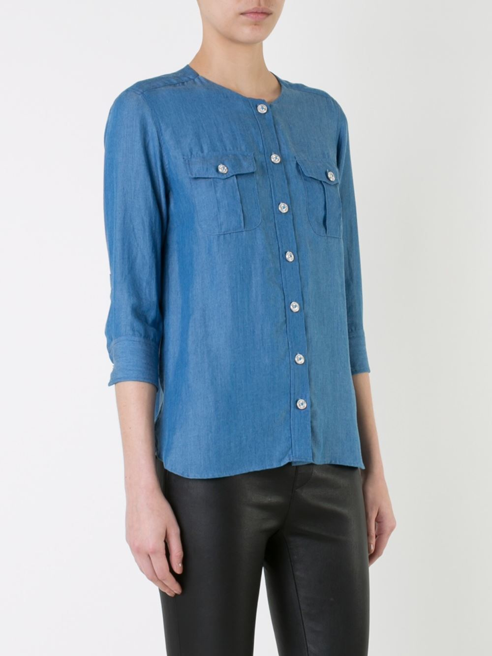 Guild prime denim effect button down shirt in blue lyst for Denim button down shirts