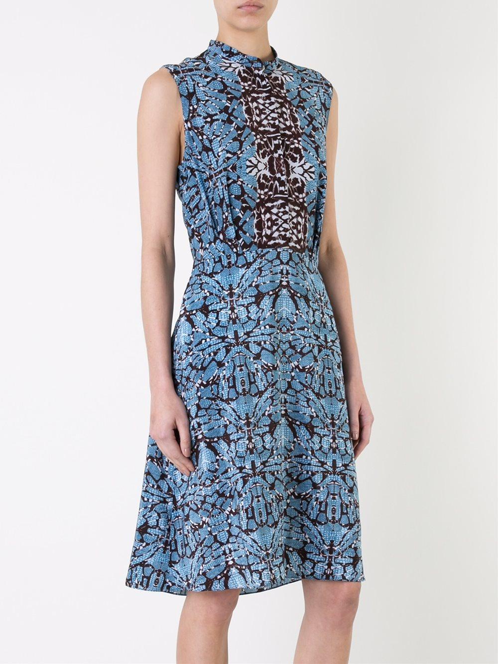 Lyst Scanlan Theodore Reptile Print Dress In Blue