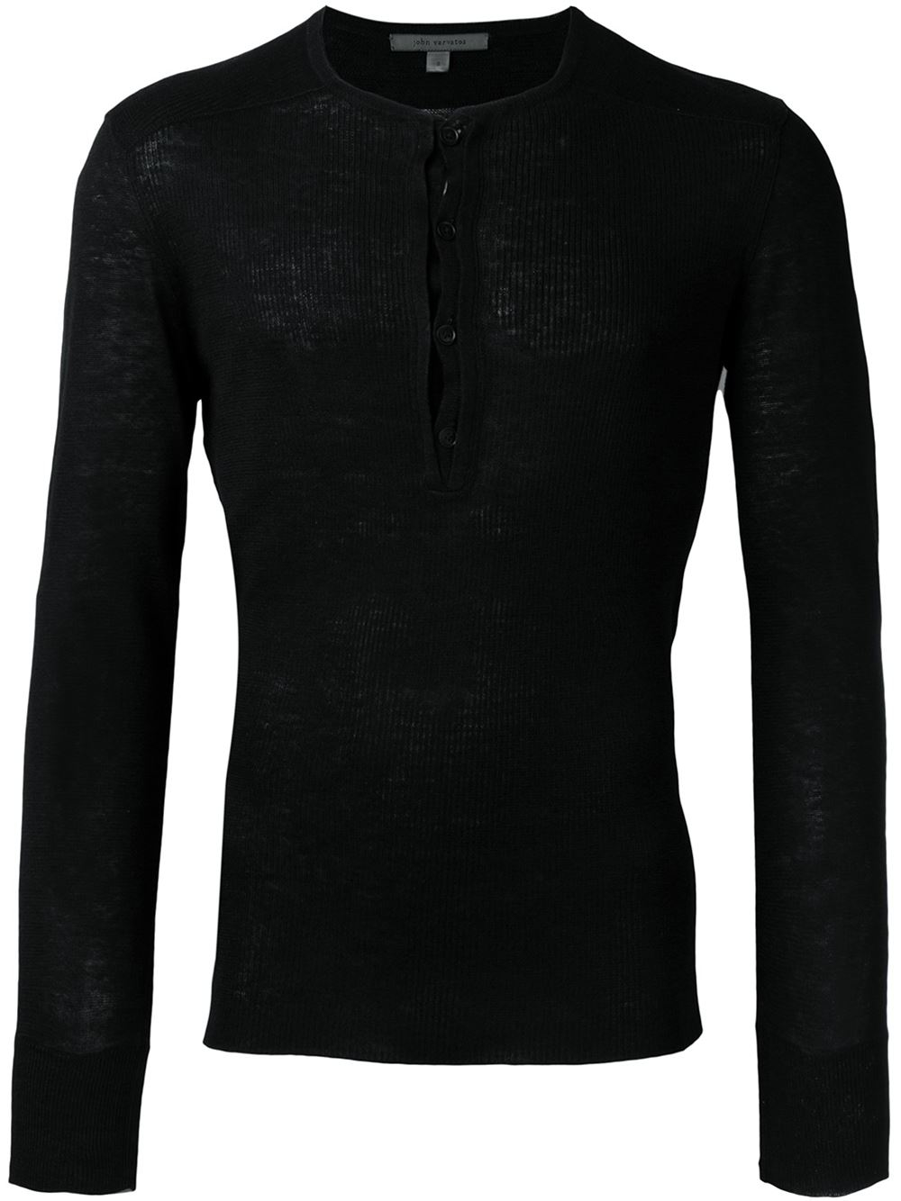 Lyst john varvatos long sleeve henley t shirt in black for Black long sleeve henley shirt