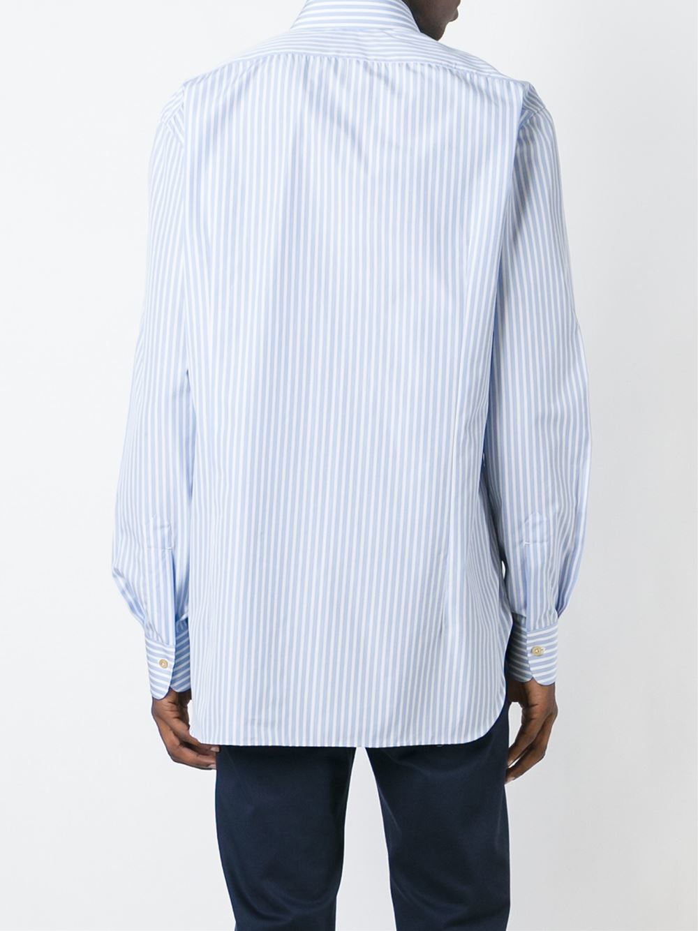 Kiton striped button down shirt in blue for men lyst for Striped button down shirts for men