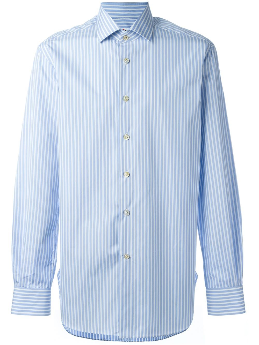 lyst kiton striped button down shirt in blue for men