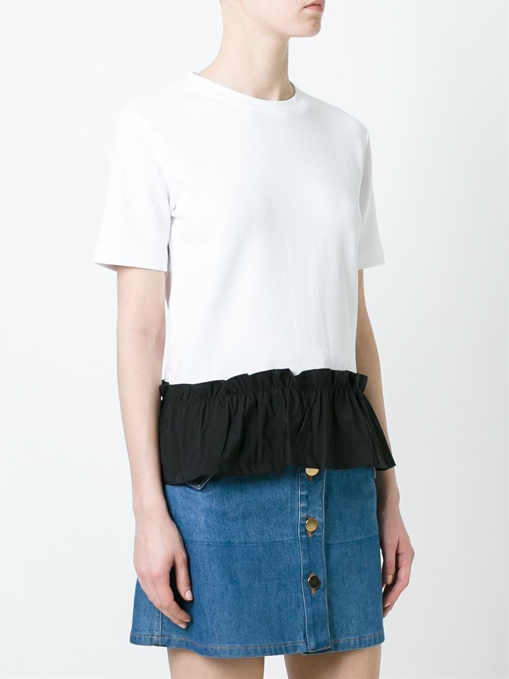 Red valentino contrast peplum t shirt in black lyst for Red valentino t shirt