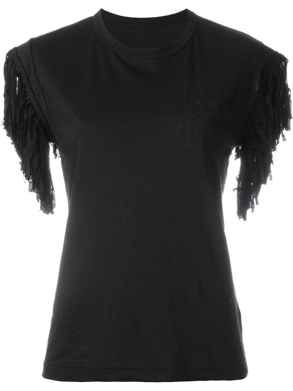 sacai fringed t shirt in black lyst. Black Bedroom Furniture Sets. Home Design Ideas