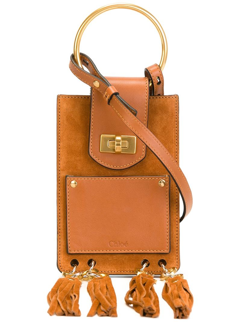 Chlo�� Jane Mini Leather And Suede Cross-Body Bag in Brown   Lyst