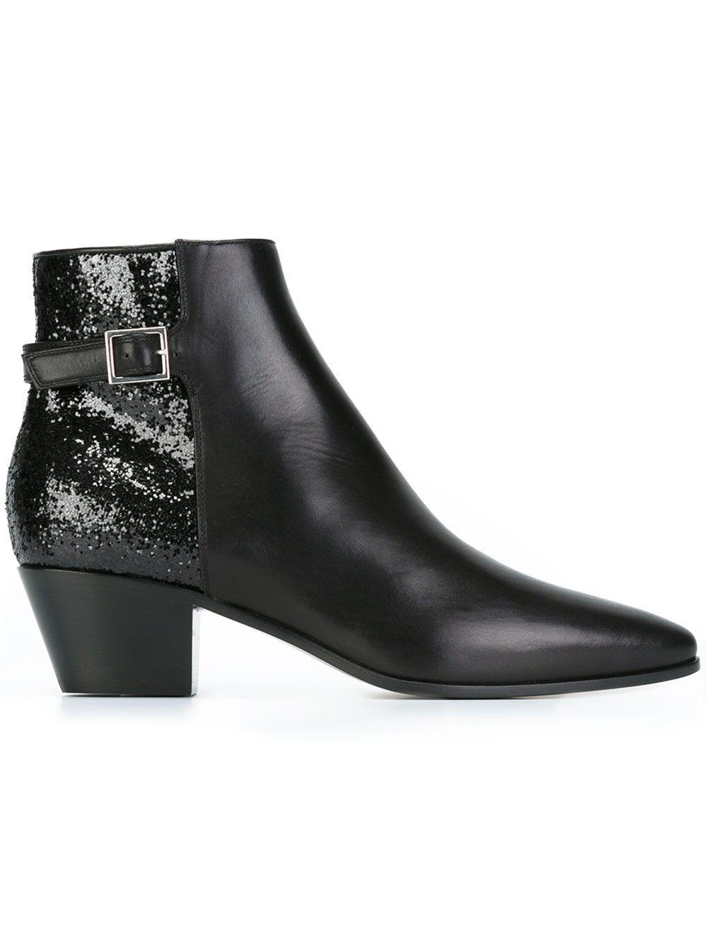 Saint Laurent Rock Glitter Leather Ankle Boots in Black - Lyst