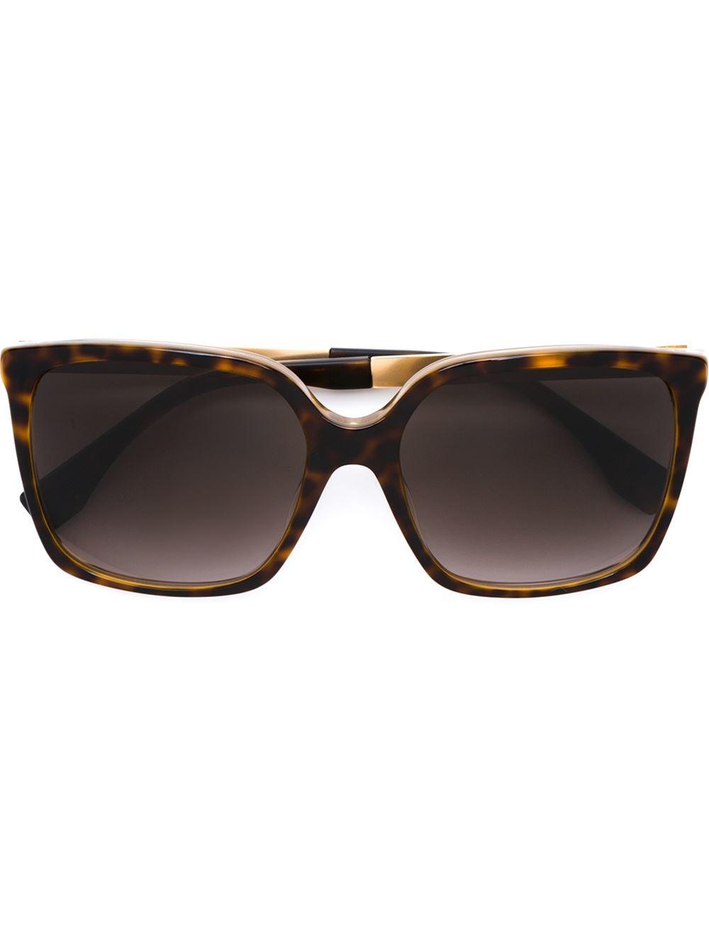 e57476f10fe07 Fendi Square Frame Sunglasses in Brown