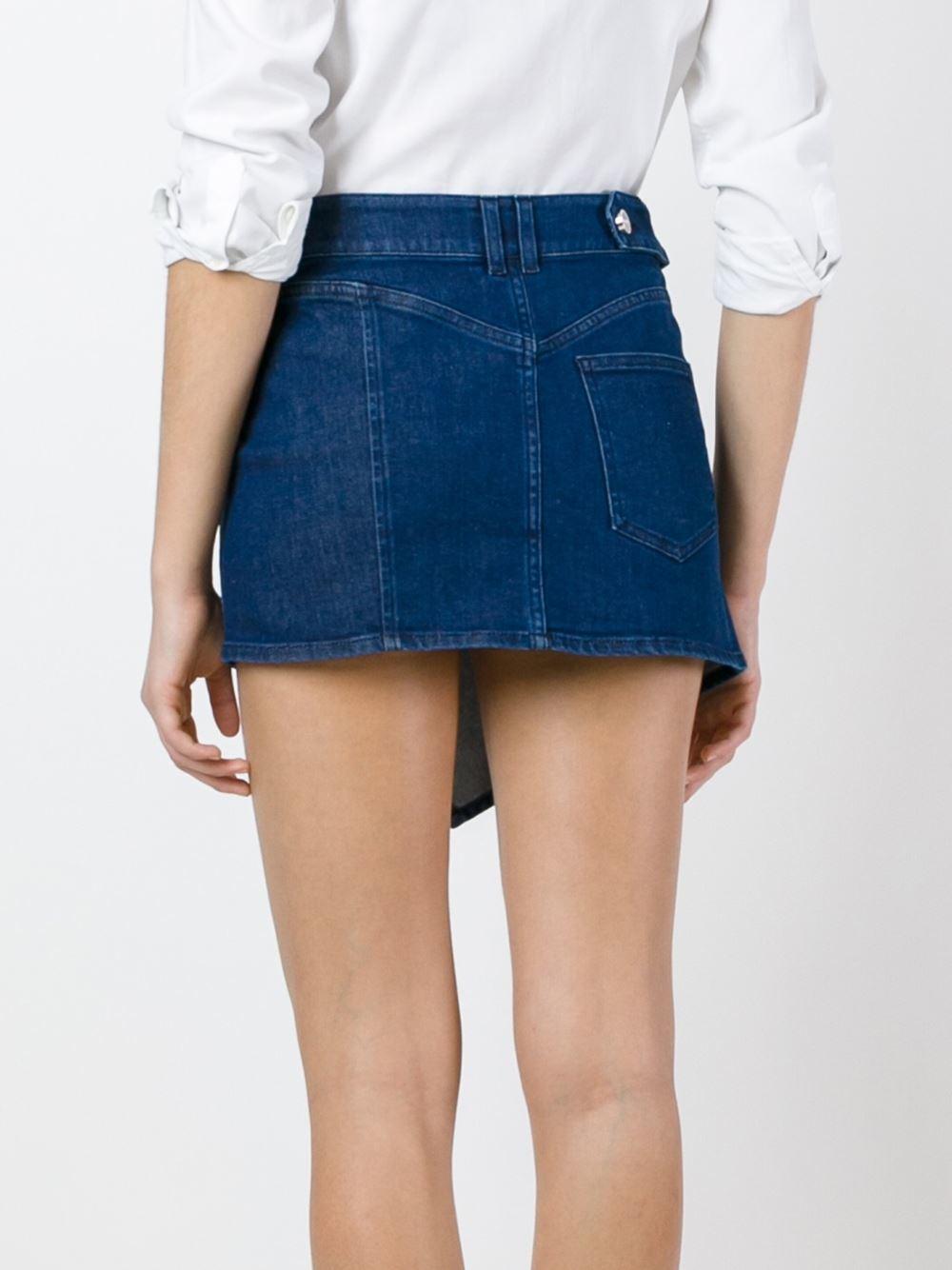 anthony vaccarello denim mini skirt in blue lyst