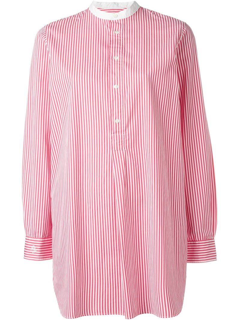 Polo ralph lauren candy stripe shirt in pink lyst for Pink and white ralph lauren shirt