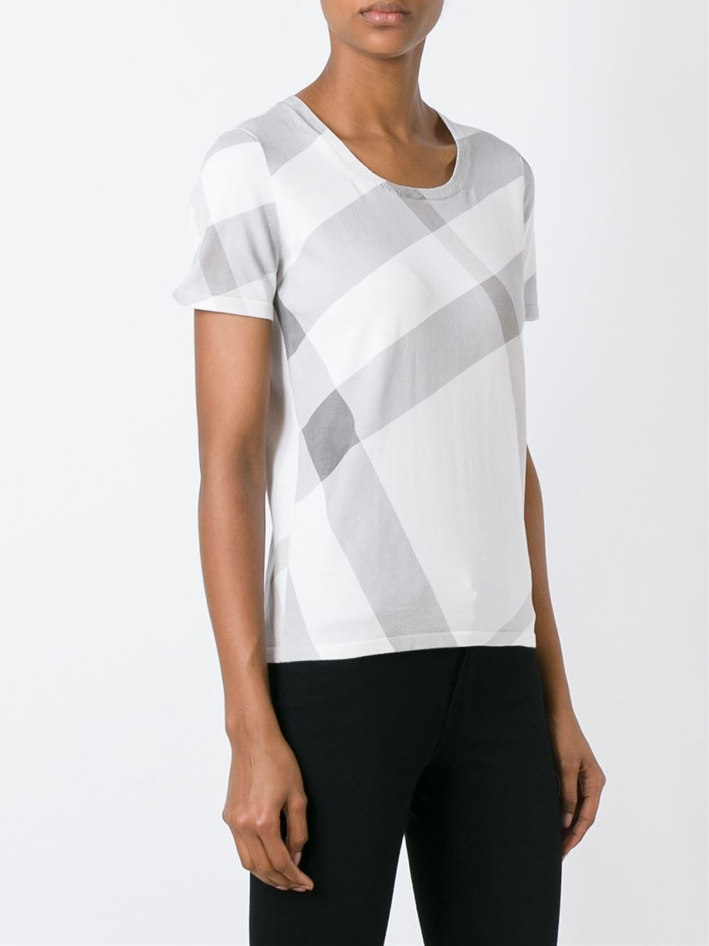 Burberry brit check print t shirt in white lyst for Burberry brit checked shirt