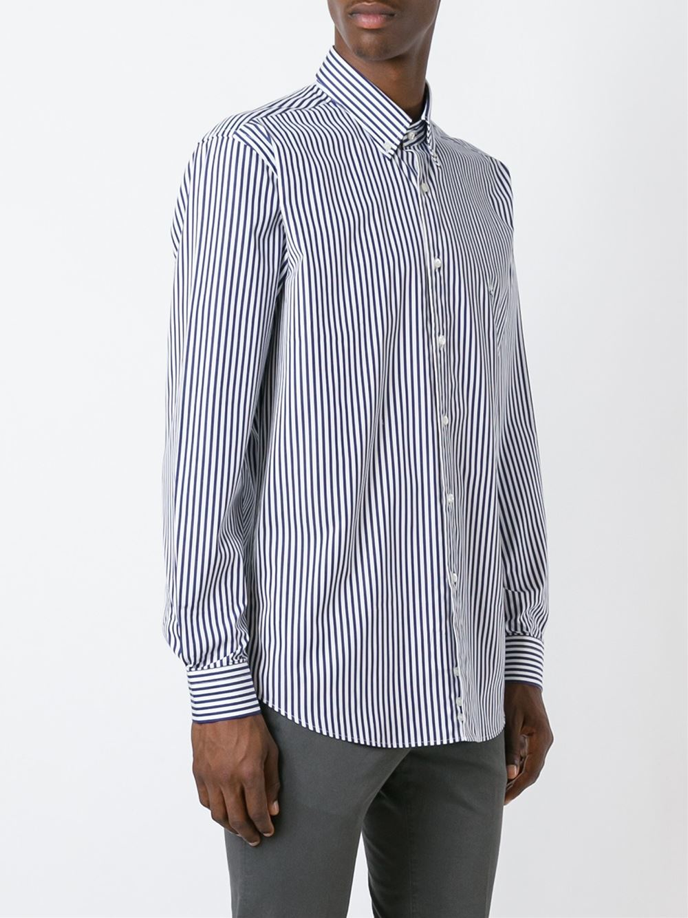 Etro striped button down shirt in blue for men lyst for Striped button down shirts for men