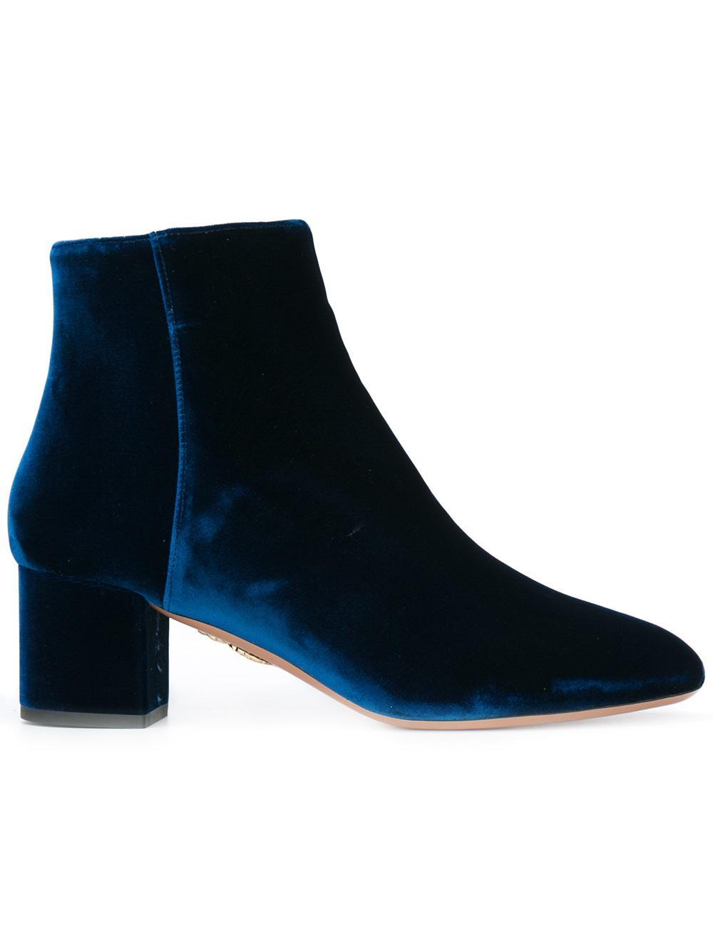 aquazzura velvet ankle boots in blue lyst
