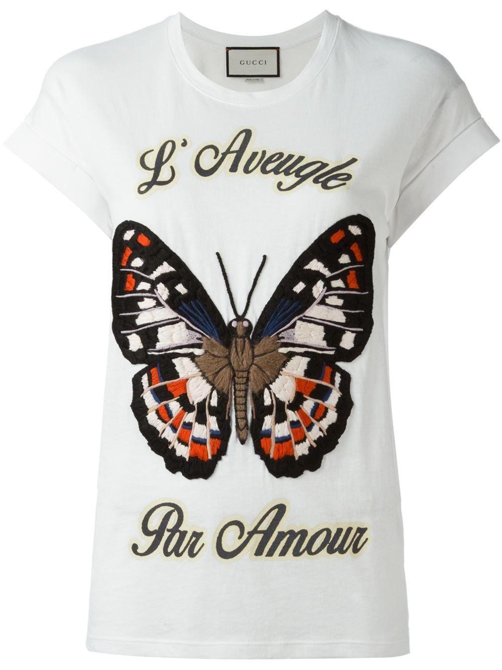 80ede54d Gucci - White - Embroidered Butterfly T-shirt - Women - Cotton/acrylic/