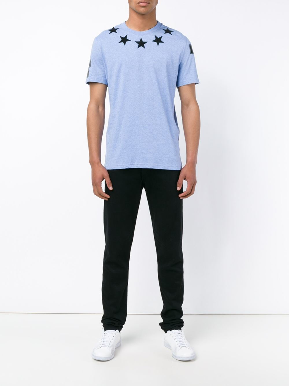 Givenchy star appliqu t shirt in blue for men lyst for Givenchy 5 star shirt