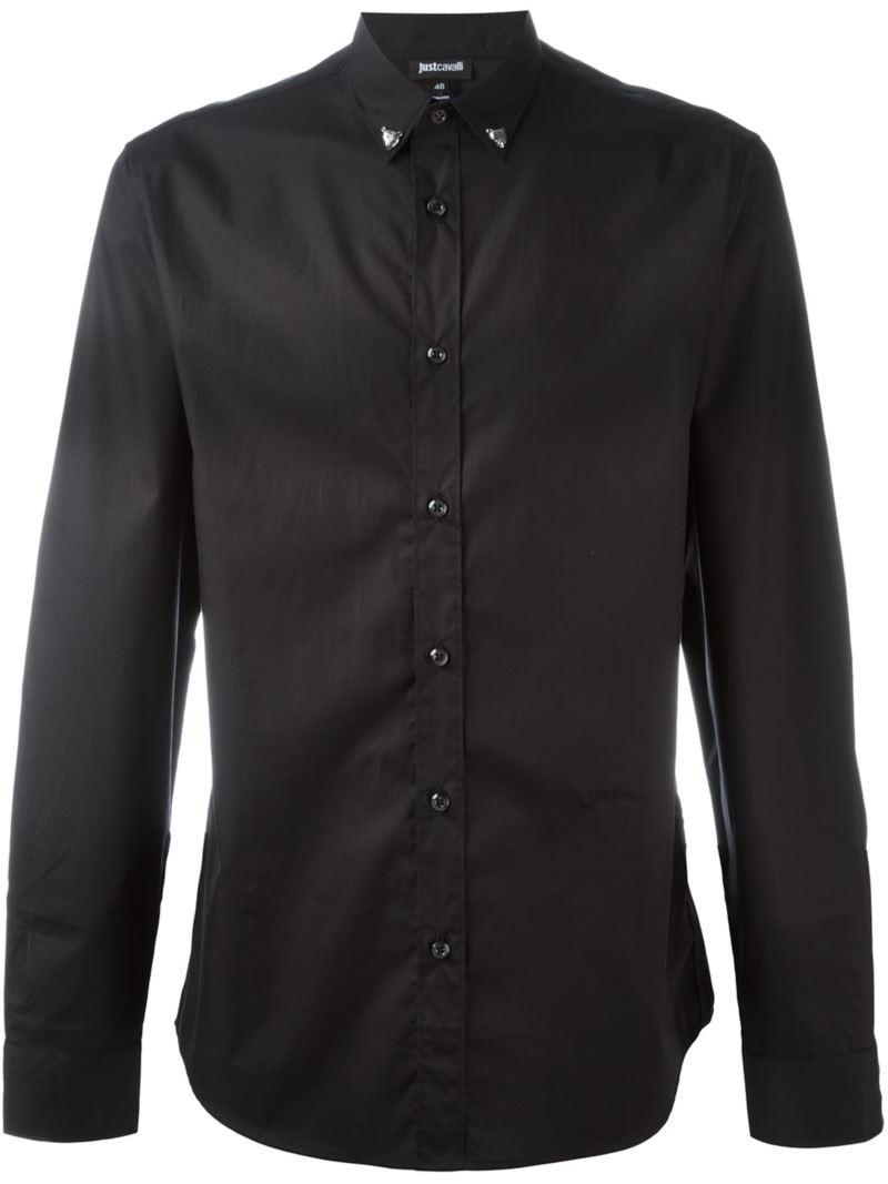 just cavalli button down collar shirt in black for men lyst