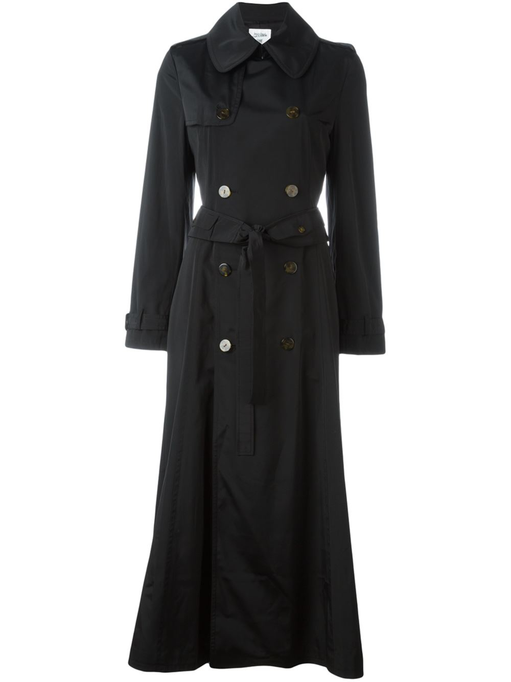 Burberry London Black Burberry London long double-breasted trench coat with removable hood, pointed collar, dual slit pockets, belt at waist, removable quilted lining and button closures at front. Designer size