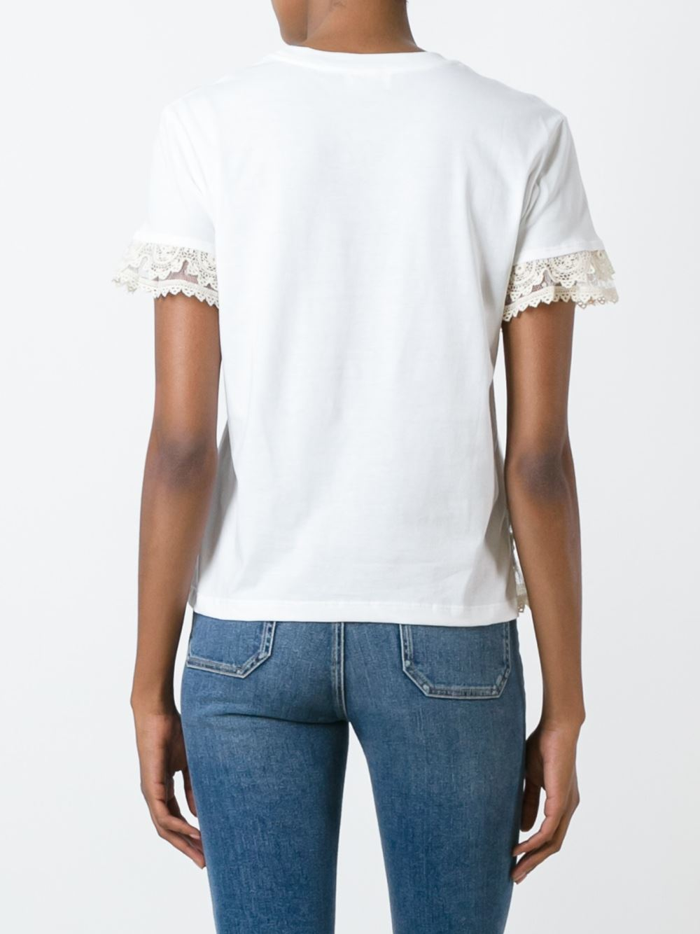 Lyst red valentino lace detail t shirt in white for Red valentino t shirt
