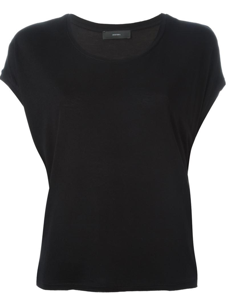 Diesel scoop neck t shirt in black lyst for Scoop neck t shirt