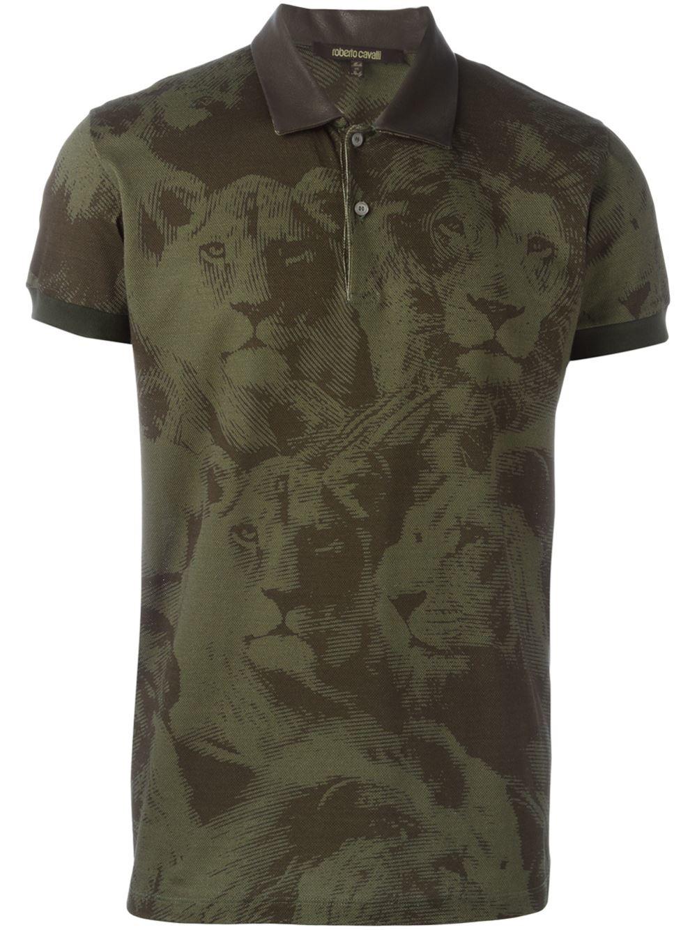Roberto cavalli leo camouflage polo shirt in green for men for Camo polo shirts for men