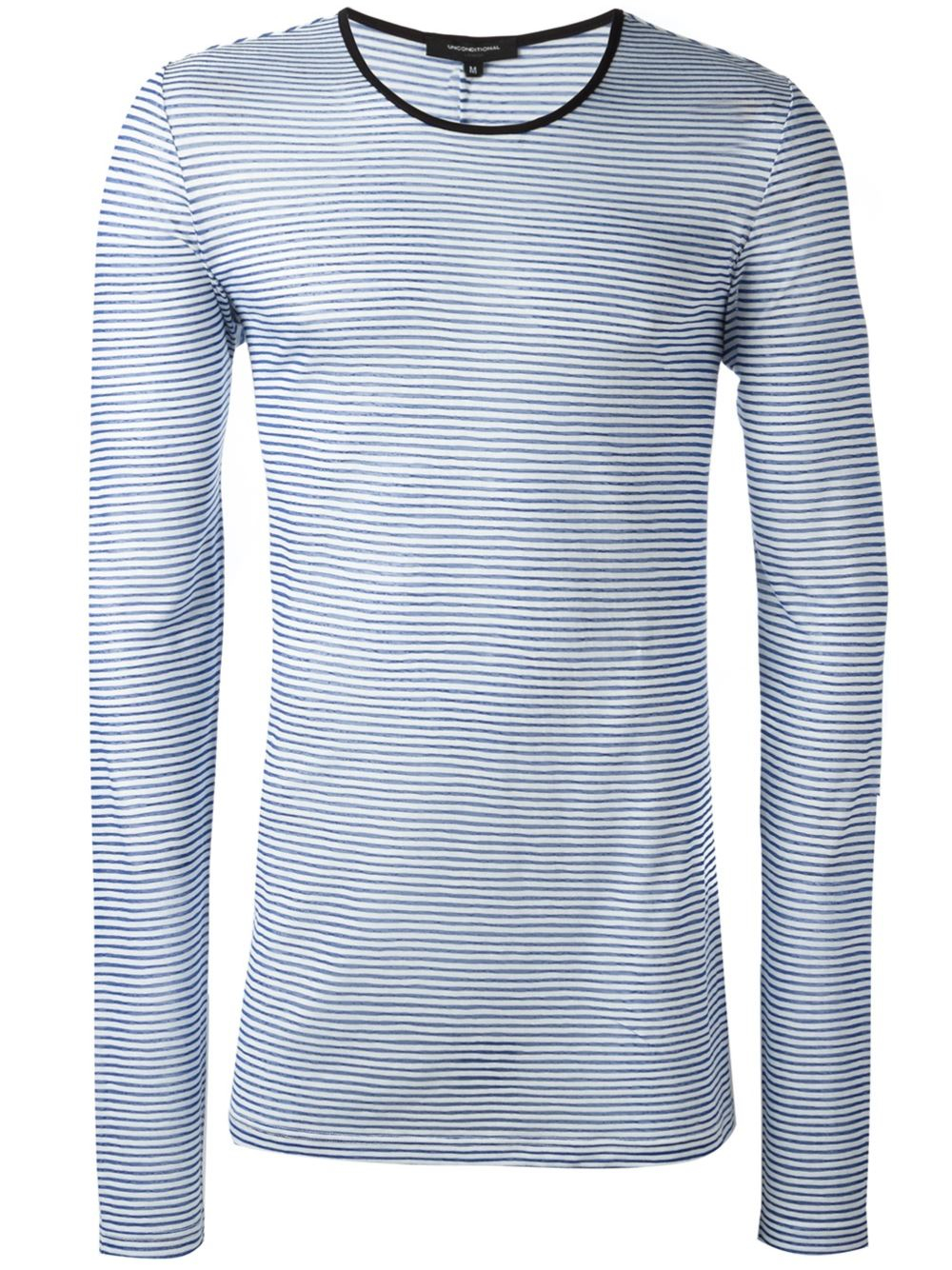 Lyst unconditional striped long sleeved t shirt in blue for Blue and white striped long sleeve t shirt