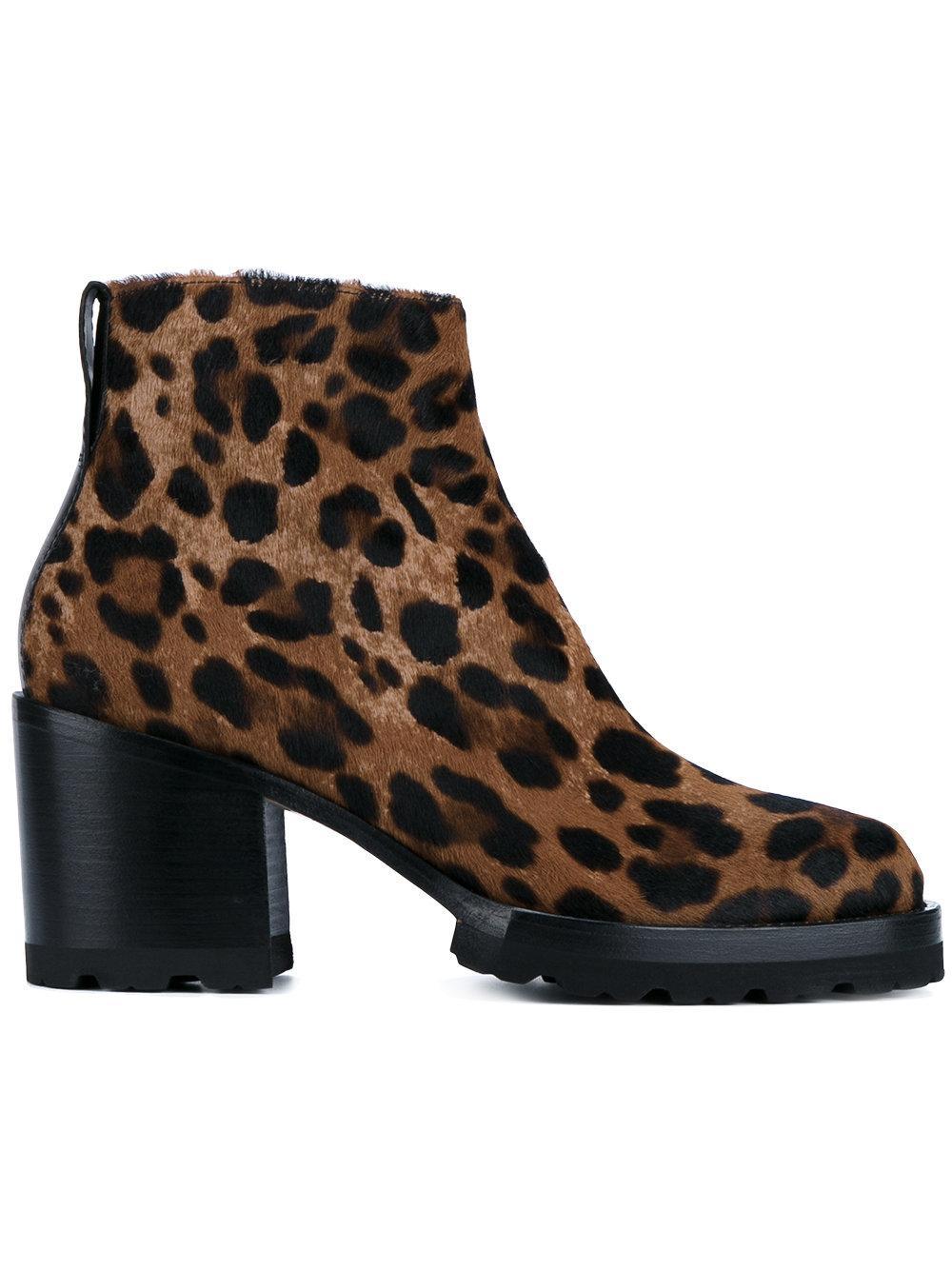 Dries Van Noten Leopard Print Pony Fur Leather Ankle Boots