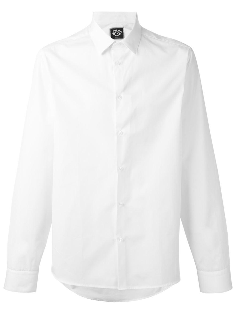 Kenzo cutaway collar shirt in multicolor for men white for White cutaway collar shirt