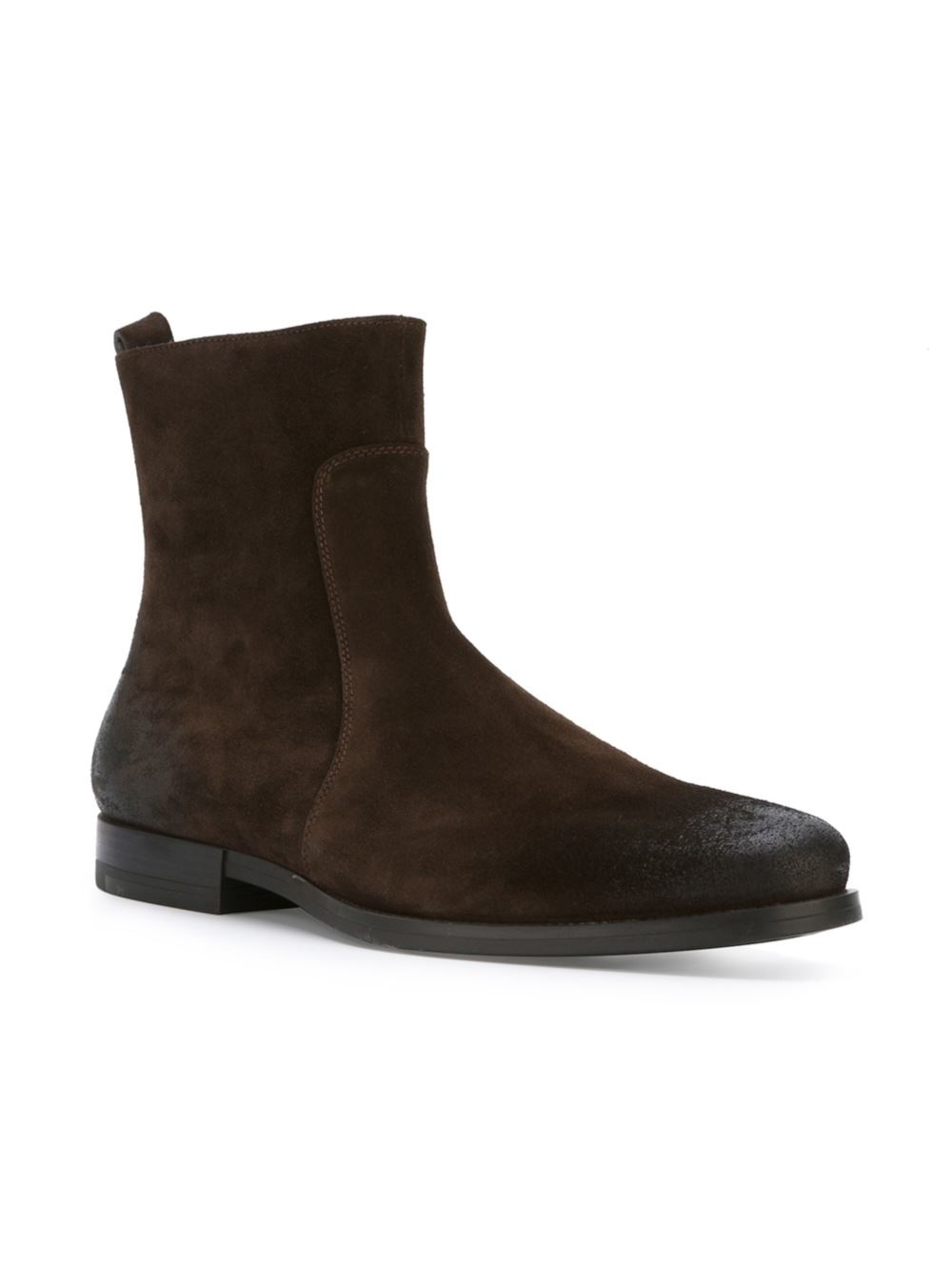 santoni side zip ankle boots in brown for lyst
