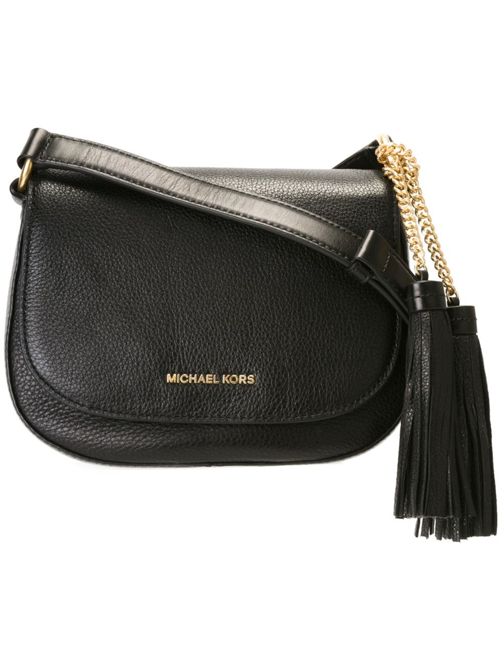 michael michael kors 39 brooklyn 39 saddle crossbody bag in black lyst. Black Bedroom Furniture Sets. Home Design Ideas