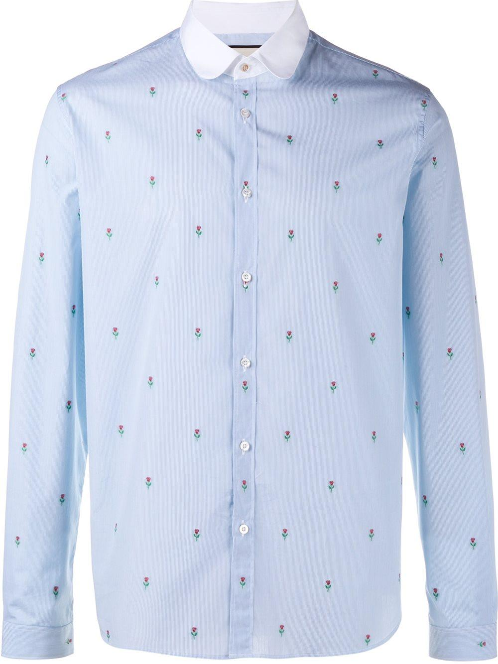 Gucci floral embroidered striped shirt for men lyst