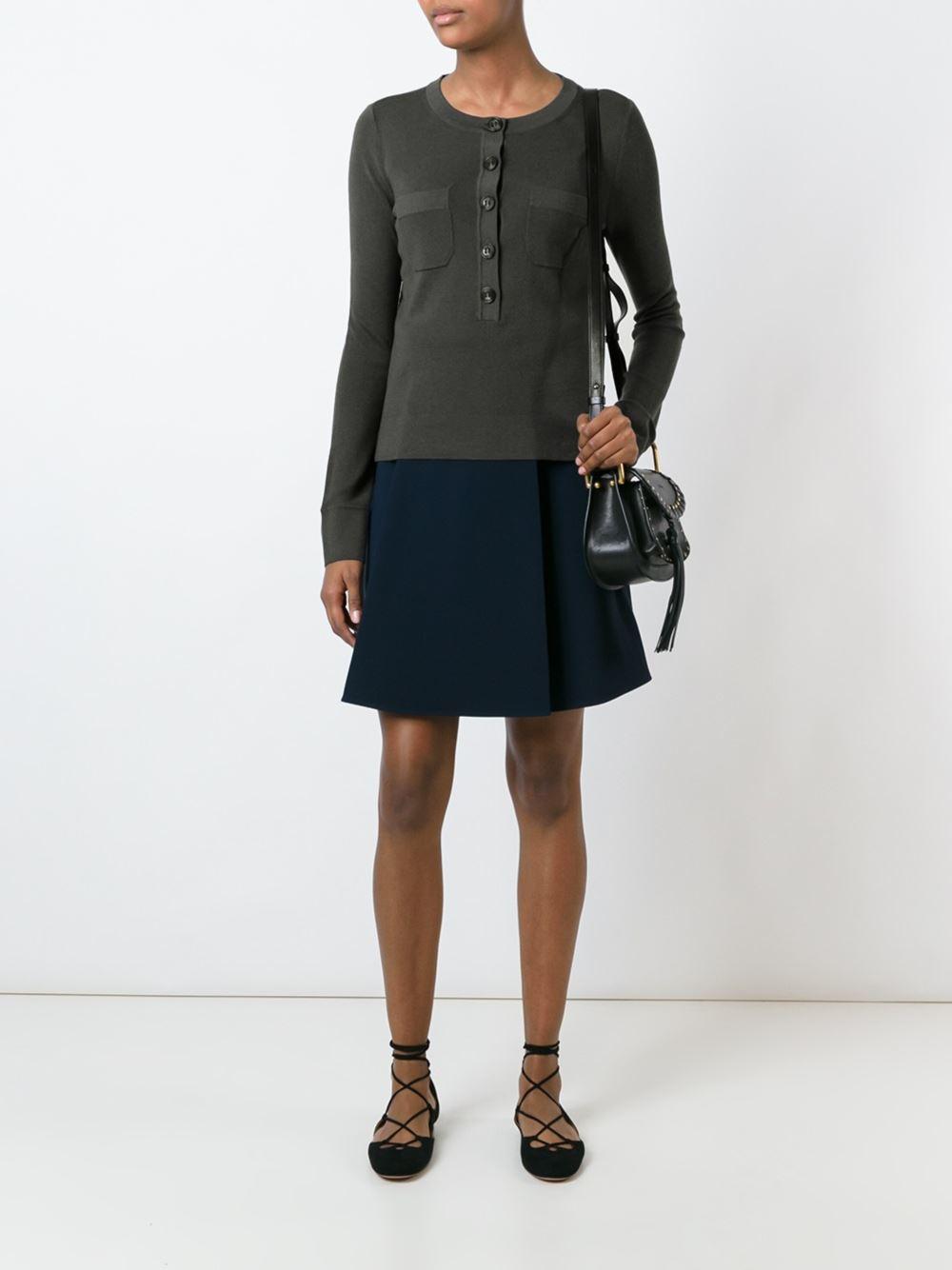 lyst dorothee schumacher three quarter button neck sweater in green. Black Bedroom Furniture Sets. Home Design Ideas