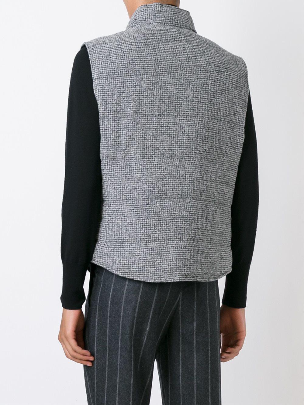 lyst brunello cucinelli pied de poule gilet in gray for men. Black Bedroom Furniture Sets. Home Design Ideas