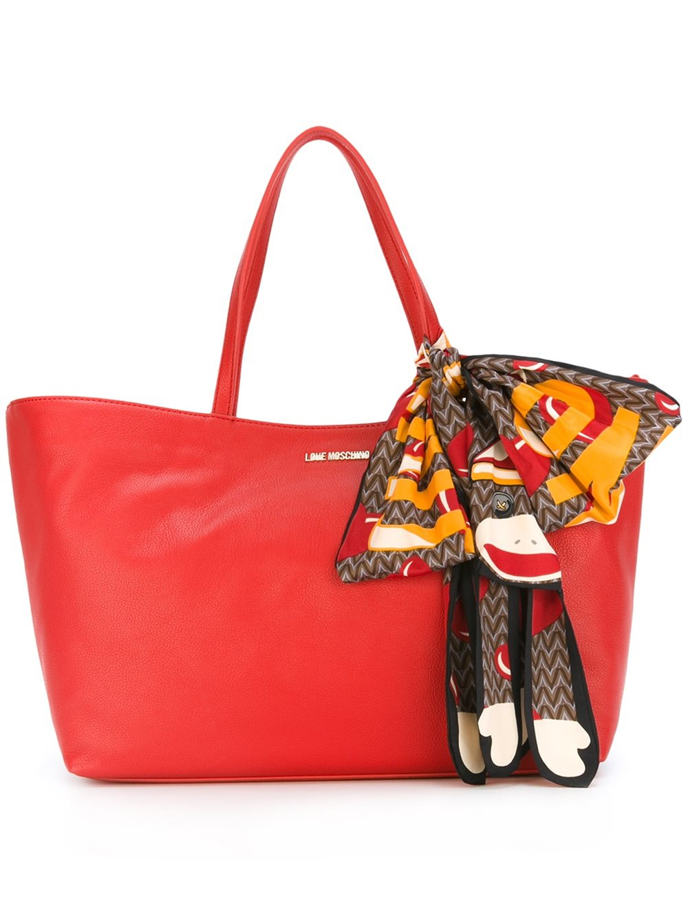 Love Moschino Monkey Scarf Detail Tote In Multicolor Red