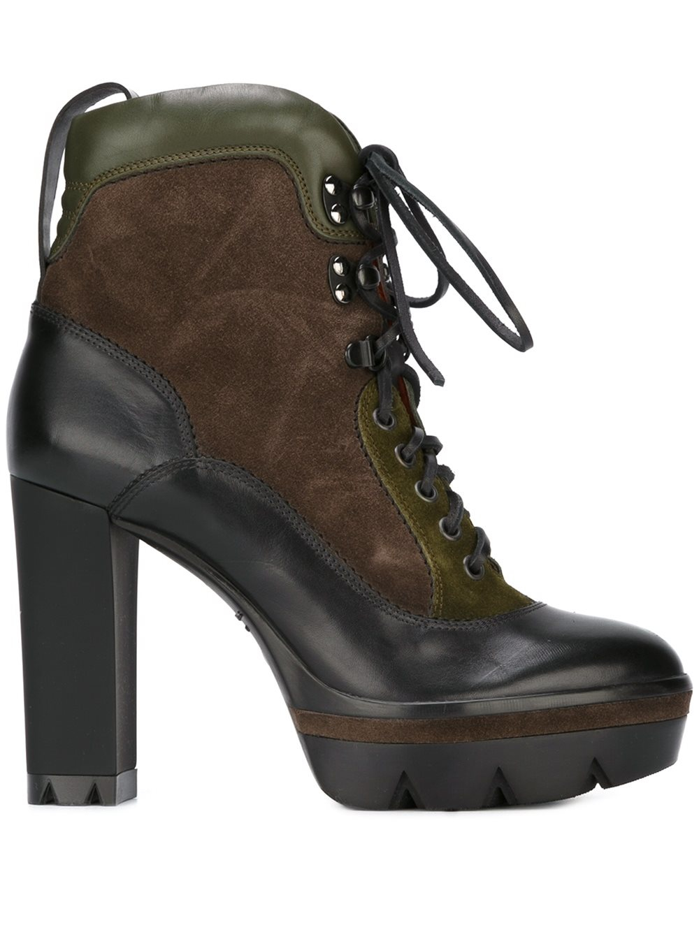 santoni chunky heel lace up boots in lyst