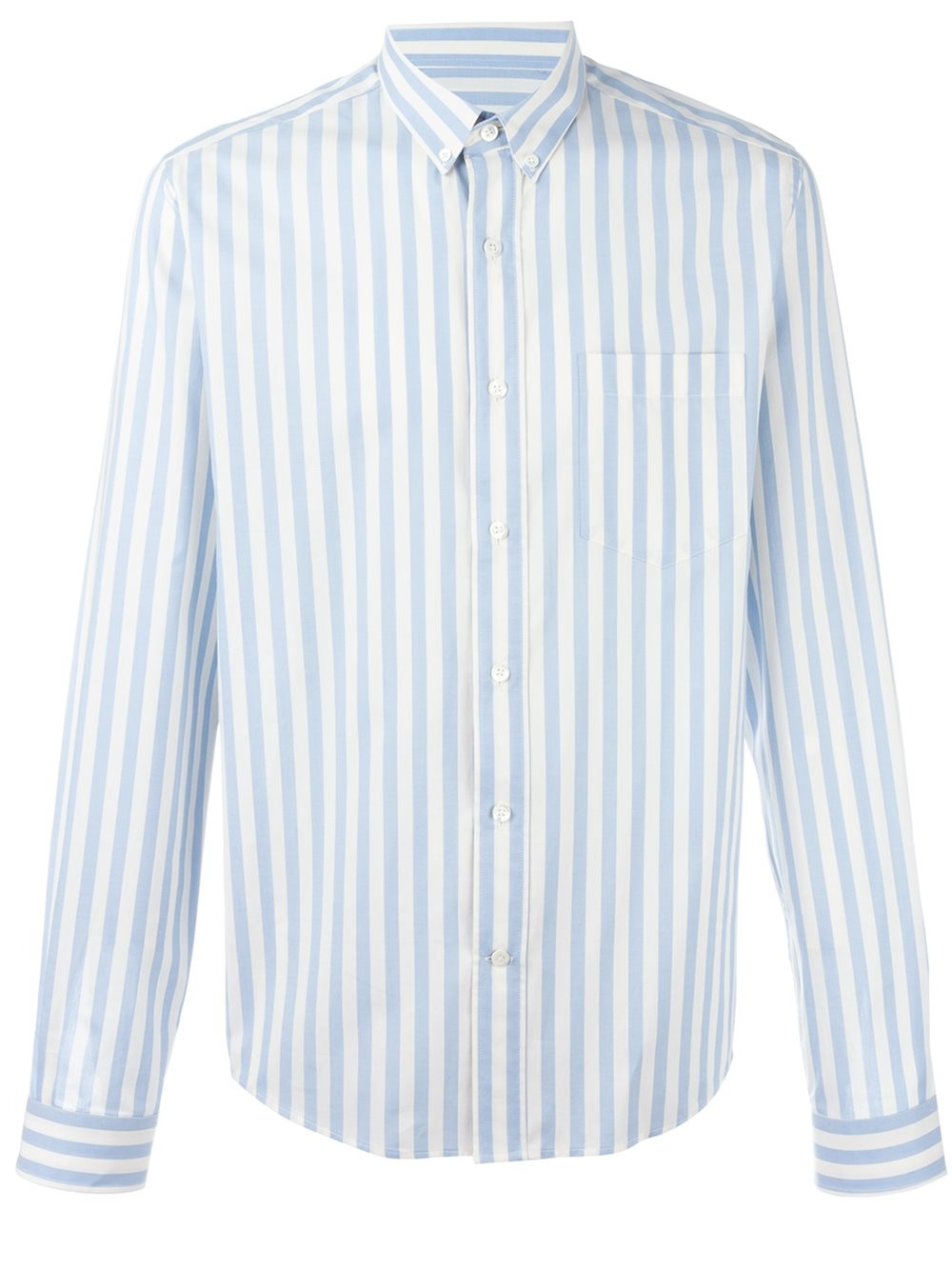 ami striped button down shirt in blue for men lyst