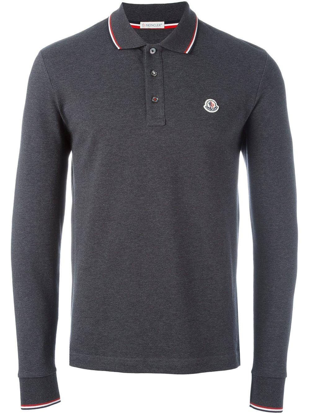 moncler long sleeve polo shirt in gray for men lyst. Black Bedroom Furniture Sets. Home Design Ideas