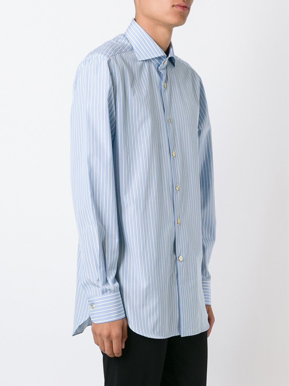 Lyst kiton striped shirt in blue for men for Blue striped shirt mens