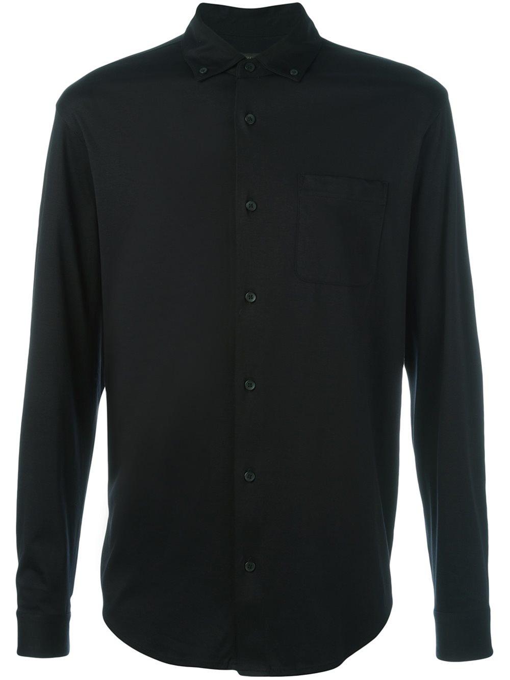 Ermenegildo zegna long sleeve polo shirt in black for men for Zegna polo shirts sale