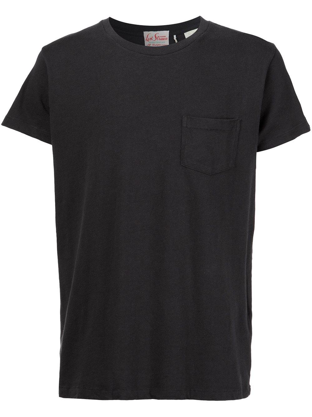 Levi 39 s chest pocket t shirt in black for men lyst for Mens black levi shirt