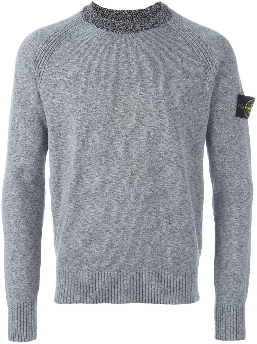 stone island arm patch pullover in gray for men grey lyst. Black Bedroom Furniture Sets. Home Design Ideas