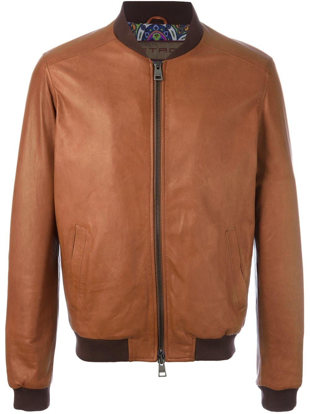 Etro zipped leather jacket in brown for men lyst for Rebajas sofas de piel