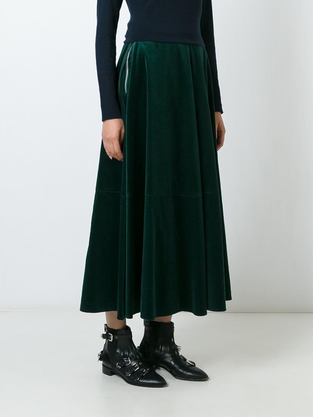 mm6 by maison martin margiela velvet maxi skirt in green
