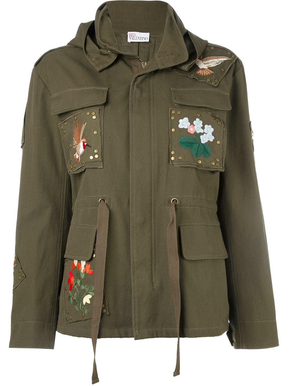 Red valentino embroidered military jacket in blue green