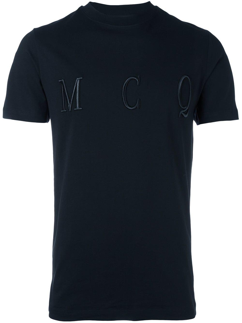 Mcq alexander mcqueen embroidered logo t shirt in blue for for Embroidered logos on shirts