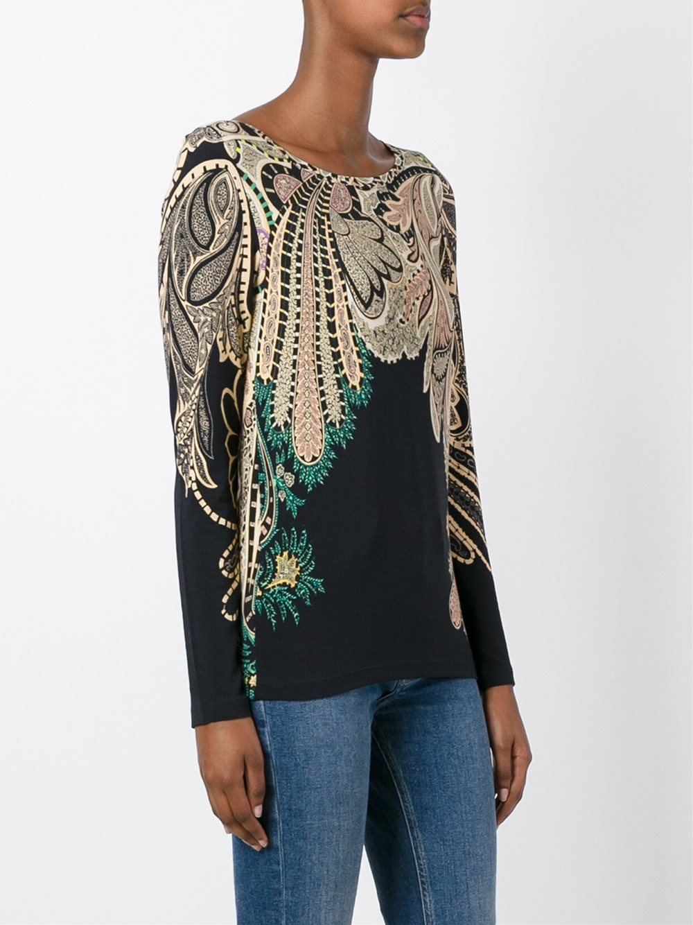 Etro Paisley Print T Shirt In Black Lyst