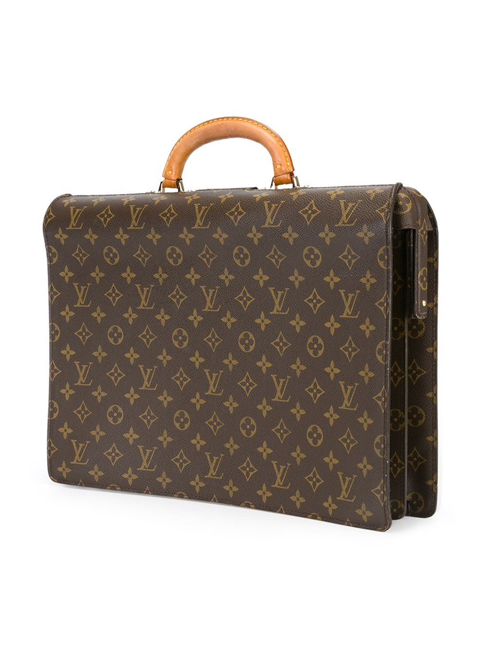 Lyst - Louis vuitton Logo Print Briefcase in Brown